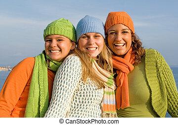 feliz, grupo, de, meninas, com, perfeitos, direito, branca, dentes