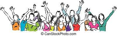 feliz, grupo, ilustração, pessoas