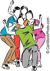 feliz, grupo, ilustración, gente
