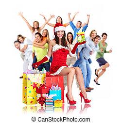 feliz, grupo, natal, pessoas