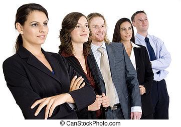 feliz, grupo, negócio