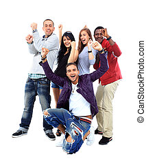 feliz, grupo pessoas, com, braços cima, -, isolado, sobre, branca