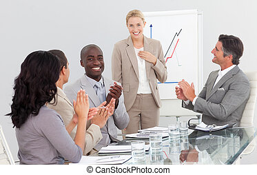 feliz, grupo pessoas empresariais