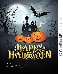 feliz, halloween, calabaza, mensaje