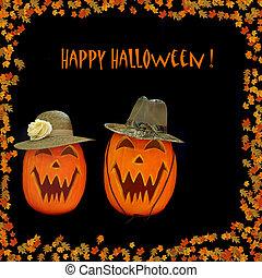 feliz, halloween, calabazas talladas