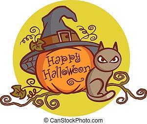 feliz, halloween., cat., abóbora
