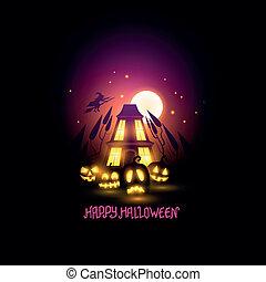 feliz, halloween, escénico