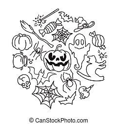 feliz, halloween, iconos, set.