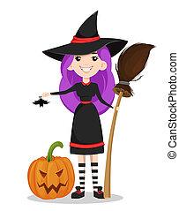 feliz, halloween., lindo, joven, bruja