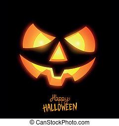 feliz, halloween, linterna del gato o