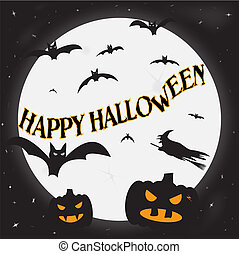 feliz, halloween, luna