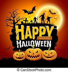 feliz, halloween, mensaje, diseño, con, calabazas