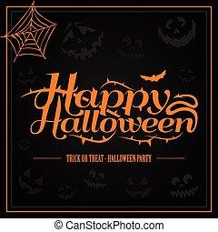 feliz, halloween, naranja, carta, en, fondo negro