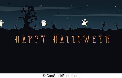 feliz, halloween, plano de fondo, con, cementerio