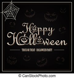 feliz, halloween, saludo, carta, en, fondo negro