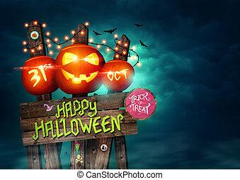 feliz, halloween, señal