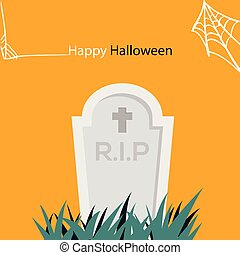 feliz, halloween, tela de araña, y, lápida, vector, imagen