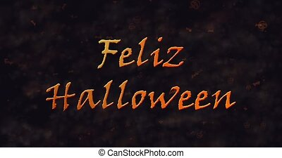 Feliz Halloween text in Spanish dissolving into dust to left