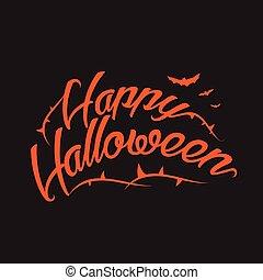 feliz, halloween, vector, plano de fondo, con, mano, letras