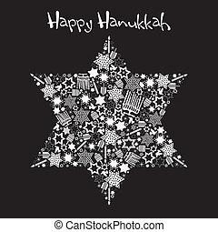 feliz, hanukkah, estrella, david