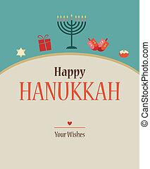 feliz, hanukkah, tarjeta de felicitación, design.