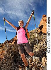 feliz, hiking, sucesso