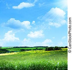 feliz, hills., abstratos, verão, paisagem, sob, céus azuis