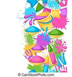 feliz, holi, coloridos, seamless, border., ilustração, de, baldes, com, pintura, injetores água, bandeiras, blots, e, manchas