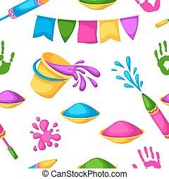 feliz, holi, coloridos, seamless, pattern., ilustração, de, baldes, com, pintura, injetores água, bandeiras, blots, e, manchas