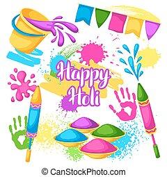 feliz, holi, jogo, de, elements., baldes, com, pintura, injetores água, bandeiras, blots, e, manchas