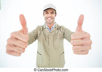feliz, hombre de entrega, actuación, pulgares arriba