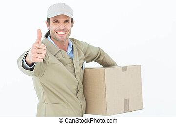 feliz, hombre de entrega, el gesticular, pulgares arriba, mientras, caja que lleva