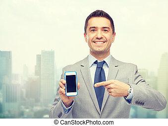 feliz, hombre de negocios, actuación, smartphone, pantalla