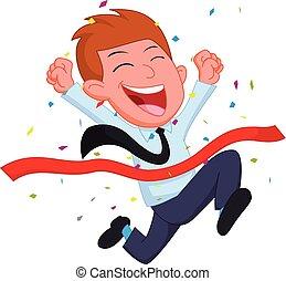 feliz, hombre de negocios, caricatura, corriente, en, el, línea fin