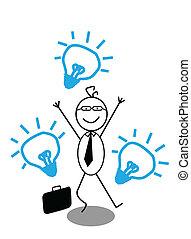 feliz, hombre de negocios, idea