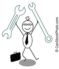 feliz, hombre de negocios, llave inglesa