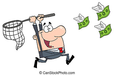 feliz, hombre de negocios, perseguir, dinero