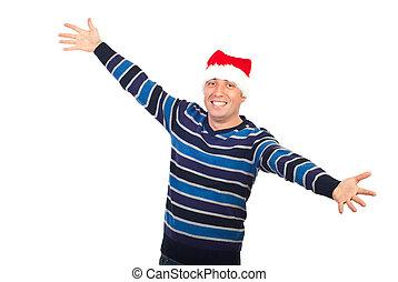 feliz, homem, com, chapéu santa, braços abertos