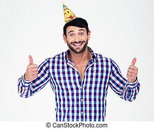 feliz, homem, em, chapéu partido, mostrando, polegares cima
