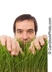 feliz, homem, em, grama verde, -, isolado