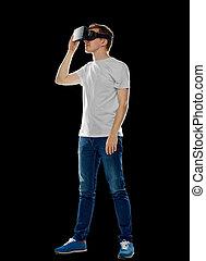 feliz, homem, em, realidade virtual, headset, ou, vidros 3d