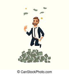 feliz, homem, homem negócios, pular, sob, dinheiro, chuva