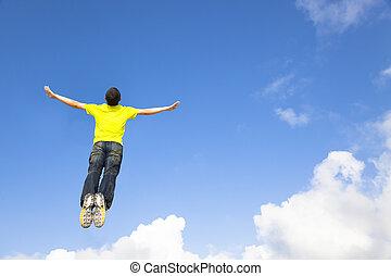 feliz, homem jovem, pular