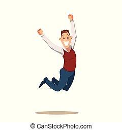 feliz, homem negócio, celebrando, vitória, por, pular