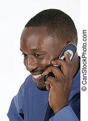 feliz, homem negócio, ligado, cellphone, 1