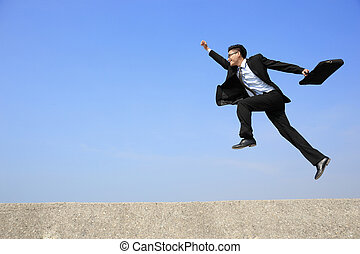 feliz, homem negócio, salto