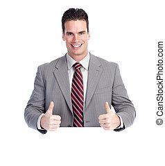 feliz, homem negócios, com, banner.