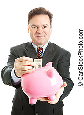 feliz, homem negócios, economiza, em, cofre