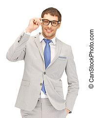 feliz, homem negócios, em, espetáculos