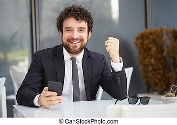 feliz, homem negócios